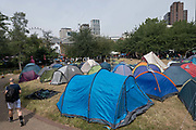 Extinction Rebellion use Waterloo Millennium Green as a temporary campsite during a week of climate change actions across the country on the 17th July 2019 in London in the United Kingdom. Extinction Rebellion are a socio-political movement using civil disobedience and nonviolent resistance to protest against climate breakdown, biodiversity loss, and the risk of social and ecological collapse.