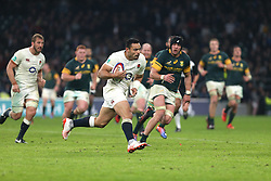 12 November 2016 Twickenham : Rugby Union International Match : England v South Africa :<br /> Nathan Hughes of England runs with the ball.<br /> Photo: Mark Leech