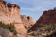 Hike through Halfway Hollow, an attractive canyon along the route to Zebra Slot, in Grand Staircase Escalante National Monument, Utah, USA. Directions to unmarked trailhead for Zebra and Tunnel Slot Canyons: From Escalante town, drive 6 miles east on Highway 12, turn right on Hole-in-the-Rock Road, drive 7.8 miles to the third cattle guard and park on west side of road. Hike east on well-trodden but unmarked path, 5 miles round trip to Zebra Slot, plus an optional 3 miles round trip to Tunnel Slot (750 feet gain over 8 miles), using map from GSENM Visitor Center or canyoneeringusa.com.