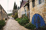 Israel, upper Galilee, Rosh Pinna cobble stone paving in the renovated old town centre. Rosh Pina founded in 1882 by thirty immigrant families from Romania, making it one of the oldest Zionist settlements in Israel