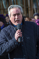 Pictured: Iain Gray, MSP<br /> University pensions row rally was held outside the Scottish Parliament in Edinburgh today. University staff were joined by politicians and students as part of the strike action event. <br /> <br /> Ger Harley | EEm 8 March 2018