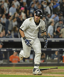 October 18, 2017 - Bronx, NY, USA - The New York Yankees' Gary Sanchez celebrates his RBI single in the fifth inning against the Houston Astros during Game 5 of the American League Championship Series at Yankee Stadium in New York on Wednesday, Oct. 18, 2017. The Yankees won, 5-0, for a 3-2 series lead. (Credit Image: © Howard Simmons/TNS via ZUMA Wire)