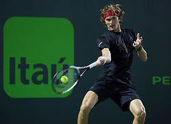 March 29, 2018 - Key Biscayne, Florida, United States - Alexander Zverev, from Germany, in action against Borna Coric, from Croatia, during his quarter final match at the Miami Open. Zverev defeated Coric 6-4, 6-4 in Miami, on March 29, 2018. (Credit Image: © Manuel Mazzanti/NurPhoto via ZUMA Press)