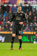 Vicente Iborra of Leicester City looks on. Premier league match, Swansea city v Leicester city at the Liberty Stadium in Swansea, South Wales on Saturday 21st October 2017.<br /> pic by Aled Llywelyn, Andrew Orchard sports photography.