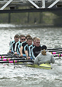 Hammersmith, London. 2002 Varsity Boat Race, 26/3/2002, Tideway Week,  Cambridge Blue Boat, during a training session on the Championship Course, River Thames, England.  [Mandatory Credit; Peter Spurrier / Intersport Images ]<br /> <br /> 2002 Cambridge Crew:   *T A Stallard, S W Brooks, A Livingston, S Mayer, A J West, L P Hirst,  S T Welch, ; R C E C Dunn, ; Cox E L Griggs 20020327 University Boat Race, [Varsity],  Tideway Week. Putney. London