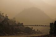 British Raj era suspension bridge.