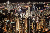 The view from Victoria Peak over Hong Kong is truly a stunning scene at night.