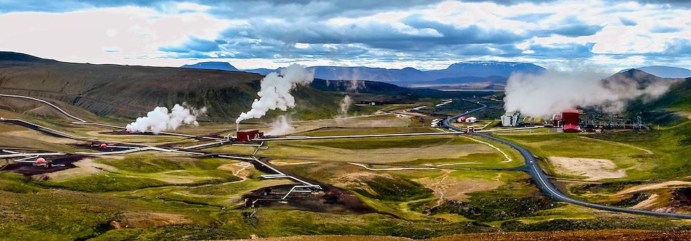 Iceland. Panorama of the Krafla volcanic area.