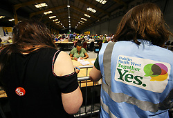 Tally keepers from both sides of the campaign at the count centre in Dublin's RDS as votes are counted in the referendum on the 8th Amendment of the Irish Constitution which prohibits abortions unless a mother's life is in danger. Picture date: Saturday May 26, 2018. See PA story IRISH Abortion. Photo credit should read: Brian Lawless/PA Wire