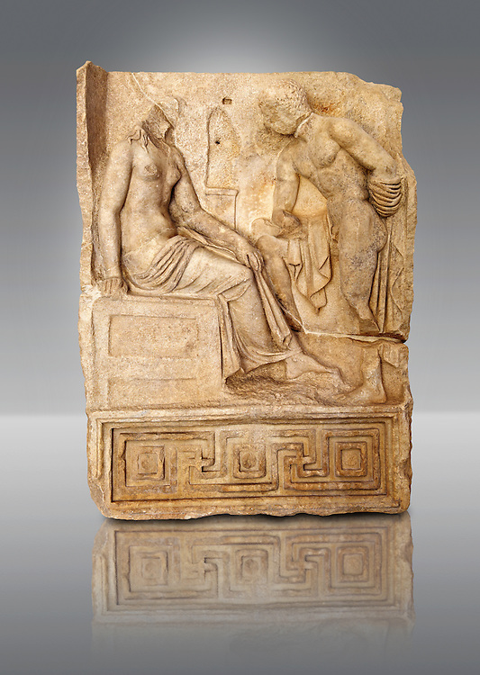 Photo of Roman relief sculpture, Aphrodisias, Turkey, Images of Roman art bas reliefs.  Unknown hero holding a sword gazes at an unknown young heroine.