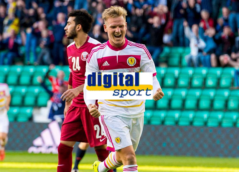 05/06/15 INTERNATIONAL CHALLENGE MATCH<br /> SCOTLAND v QATAR<br /> EASTER ROAD STADIUM - EDINBURGH<br /> Scotland midfielder Matt Richie celebrates his winning goal