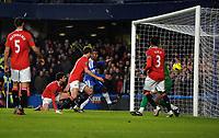 Jonny Evans Scores own goal<br />Manchester United 2011/12<br />Chelsea V Manchester United 05/02/12<br />The Premier League<br />Photo: Robin Parker Fotosports International