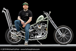 The Cover-up, a custom motorcycle built from a 1987 Sportster 883, by Casey Kiger. Photographed by Michael Lichter in Charlotte, SC, USA on 1/24/19. ©2019 Michael Lichter.