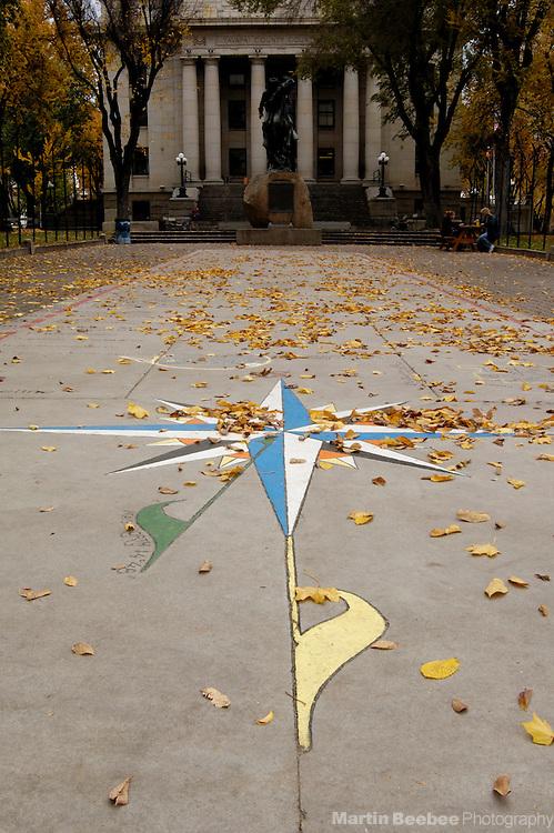 Sidewalk compass rose in Courthouse Square, Prescott, Arizona