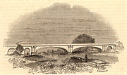 Maidenhead Bridge on the Great Western Railway, c1860.  Bridge designed by Sambaed Kingdom Brunel (1806-1859) to carry the GWR across the Thames at Maidenhead, Berkshire. Critics were convinced that the bridge would fall because of the breadth and flatness of the arches, 128 ft. (39m) wide with a rise of 24ft 3in (7.39m) to the crown, but they were proved wrong.  Opened 1839. From 'The Land We Live In' (London, c1860)