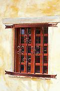 Decorative iron bars on wooden window, Mission San Carlos Borromeo de Carmelo (2nd California Mission), Carmel, California