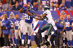 New York Giants defensive back Prince Amukamara #20 intercepts a pass intended for Philadelphia Eagles wide receiver DeSean Jackson #10 during the NFL game between the Philadelphia Eagles and the New York Giants. The Eagles won 17-10 at MetLife Stadium in East Rutherford, New Jersey on Sunday, November 20th 2011. (Photo By Brian Garfinkel)