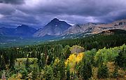 East side of Glacier National Park from the Blackfeet Reservation. North of East Glacier, Montana