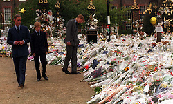 The Prince of Wales  and his sons Prince William  (right) and Prince Harry view the floral tributes to their mother, Diana, Princess of Wales, at Kensington Palace today (Friday). See PA Story DIANA Princes. Photo by Rebecca Naden. POOL.