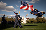 The South Carolina Corps of Cadets color guard passes in review during retreat parade on Friday, March 6, 2020.<br /> <br /> Credit: Cameron Pollack / The Citadel