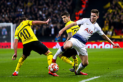 Juan Foyth of Tottenham Hotspur is tackled by Mario Gotze of Borussia Dortmund - Mandatory by-line: Robbie Stephenson/JMP - 13/02/2019 - FOOTBALL - Wembley Stadium - London, England - Tottenham Hotspur v Borussia Dortmund - UEFA Champions League Round of 16, 1st Leg