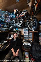 Visit with Keiji Kawakita in his office at his Hot Dock Custom Cycles. Tokyo, Japan. Wednesday, December 10, 2014. Photograph ©2014 Michael Lichter.