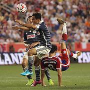 Javi Martinez, FC Bayern Munich, attempts an overhead kick during the FC Bayern Munich vs Chivas Guadalajara, Audi Football Summit match at Red Bull Arena, New Jersey, USA. 31st July 2014. Photo Tim Clayton