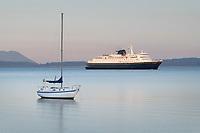 Alaska Ferry and sailboat  in Bellingham Bay on a calm morning, Bellingham,  Washington