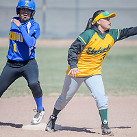 Zuni Thunderbird Alexis Leekela (1) tags up on second base just ahead of the throw to Newcomb Skyhawk Brianna Curley (3) Thursday at Tohatchi High School.