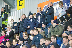 After Falkirk's second goal, south stand. <br /> Falkirk 3 v 2 Rangers, Scottish Championship game player at The Falkirk Stadium, 18/3/2016.