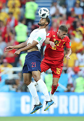 KALININGRAD, June 28, 2018  Ruben Loftus-Cheek (L) of England competes for a header with Thorgan Hazard of Belgium during the 2018 FIFA World Cup Group G match between England and Belgium in Kaliningrad, Russia, June 28, 2018. (Credit Image: © Cao Can/Xinhua via ZUMA Wire)