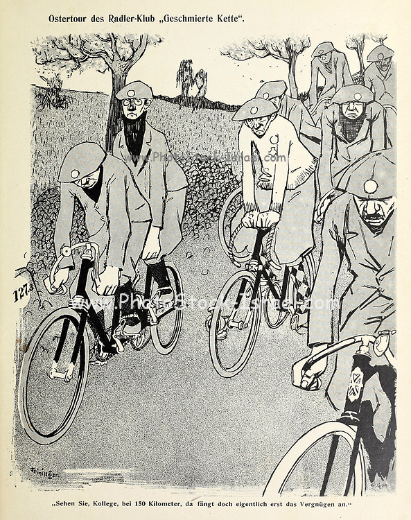 Easter tour of the cyclist club 'Lubricated chain' From the Book Das Narrenrad : Album fröhlicher Radfahrbilder [The fool's wheel: album of happy cycling pictures] by Feininger, Lyonel, 1871-1956, illustrator; Heilemann, Ernst, 1870- illustrator; Hansen, Knut, illustrator; Fürst, Edmund, 1874-1955, illustrator; Edel, Edmund, illustrator; Schnebel, Carl, illustrator; Verlag Otto Elsner, printer. Published in Germany in 1898