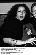 Dalia Fayed. Furstenberg party. Manhattan. January. 1994. Film 9426f20<br />© Copyright Photograph by Dafydd Jones<br />66 Stockwell Park Rd. London SW9 0DA<br />Tel 0171 733 0108