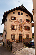 Mendel Haus is decorated with frescoes dating from 1886 in Kastelruth/Castelrotto, a comune in Südtirol/South Tyrol/Alto Adige, in the Dolomites, Italy, near Bolzano and Seiser Alm (Alpe di Siusi). After Austria lost World War I, its South Tirol (Südtirol) became Italy's Alto Adige. German is the most spoken language in Kastelruth. The Dolomites were declared a natural World Heritage Site (2009) by UNESCO.