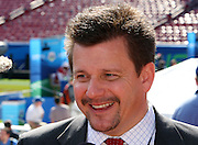 TAMPA, FL - JANUARY 27: Team President Michael J. Bidwill of the NFC Arizona Cardinals speaks to the media during Super Bowl XLIII Media Day at Raymond James Stadium on January 27, 2009 in Tampa, Florida. ©Paul Anthony Spinelli *** Local Caption *** Michael J. Bidwill