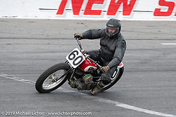 Matt Weaver riding a 45 inch Flathead Harley-Davidson in the Sons of Speed Vintage Motorcycle Races at New Smyrina Speedway. New Smyrna Beach, USA. Saturday, March 9, 2019. Photography ©2019 Michael Lichter.
