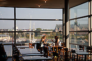 SWEDEN- STOKHOLM - 26/09/2006 : cafe restaurant with a panoramic wiew in the modern art museum on Skeppsholmen island  .///.cafe restaurant avec vue panoramique au musee d'art moderne sur l ile Skeppsholmen