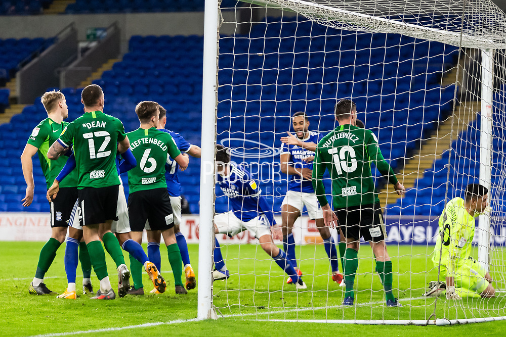 GOAL 3-2 Cardiff City's Sean Morrison (4) (partly hidden) scores his side's third goal to win the game during the EFL Sky Bet Championship match between Cardiff City and Birmingham City at the Cardiff City Stadium, Cardiff, Wales on 16 December 2020.