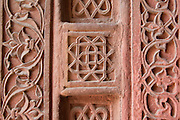 India, Uttar Pradesh, Agra, Agra Fort bas-relief decorations