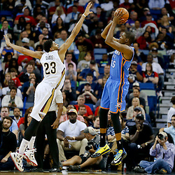 Dec 2, 2014; New Orleans, LA, USA; Oklahoma City Thunder forward Kevin Durant (35) shoots over New Orleans Pelicans forward Anthony Davis (23) during the second quarter of a game at the Smoothie King Center. The Pelicans defeated the Thunder 112-104. Mandatory Credit: Derick E. Hingle-USA TODAY Sports
