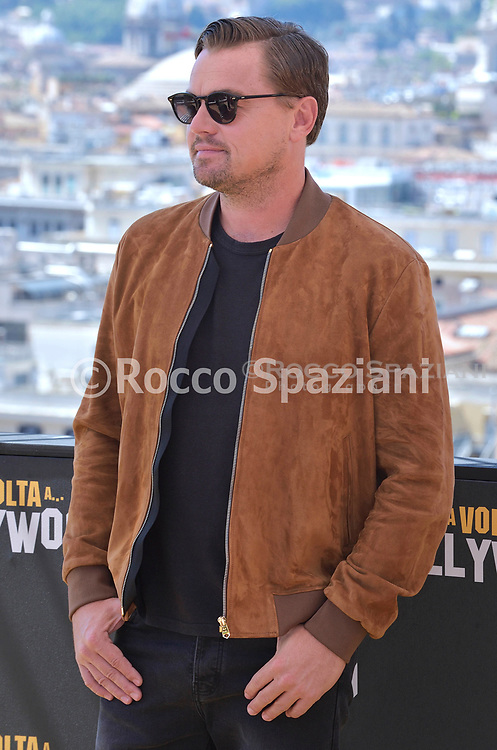 """ROME, ITALY - AUGUST 03:  Leonardo Di Caprio, attend the photocall of the movie """"Once Upon a time in Hollywood"""" at Hotel De La Ville on August 03, 2019 in Rome, Italy."""