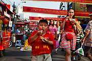 Chinese New Year Celebrations in Thanon Yaowarat, the main thoroughfare which threads through Bangkok's Chinatown, Thailand.