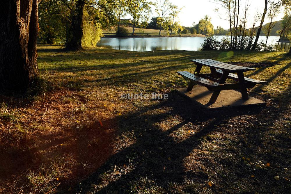 bench near lake during early morning