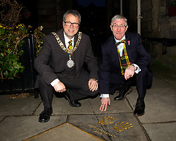 Pictured: Lord provost Donald Wilson and Ken Buchanan<br /> Edinburgh Award for 2016 presented to Ken Buchanan at the city chambers. A ceremony at the City Chambers for the recipient of this year's award, Ken Buchanan, who was presented with a Loving Cup by the Lord Provost. He was also reunited with his hand-prints which have been set in a flagstone within the grounds of the City Chambers and see his name etched on the city's Edinburgh Award honour board <br /> <br /> Scott Louden | EEm 3 March 2017
