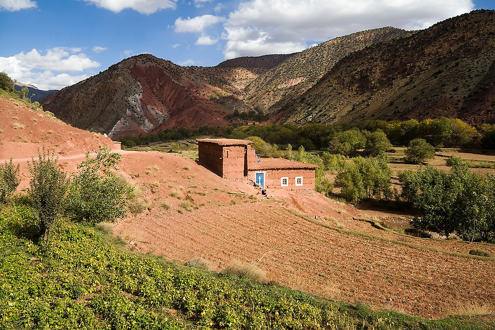 A small field and house near Abachkou in the M'Goun Massif, Central High Atlas, Morocco.