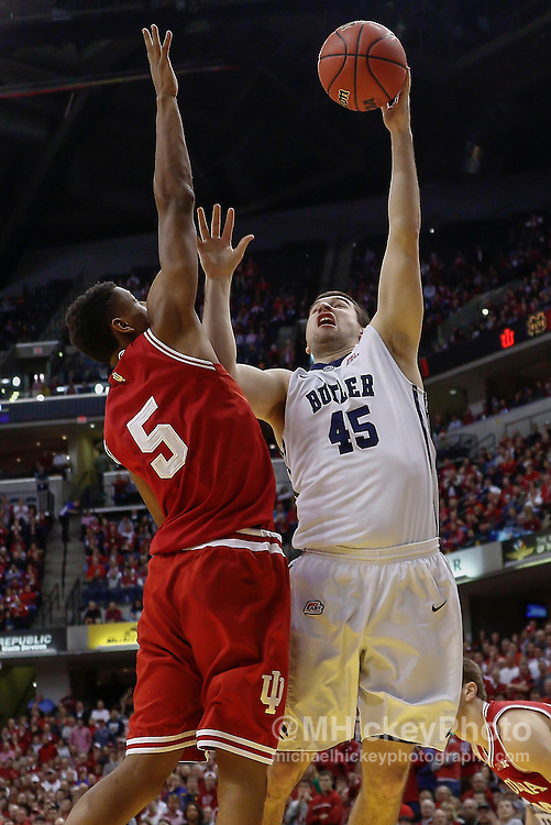 INDIANAPOLIS, IN - DECEMBER  20: Andrew Chrabascz #45 of the Butler Bulldogs shoots the ball against Troy Williams #5 of the Indiana Hoosiers at Bankers Life Fieldhouse on December 20, 2014 in Indianapolis, Indiana. Indiana defeated Butler 82-73. (Photo by Michael Hickey/Getty Images) *** Local Caption *** Andrew Chrabascz