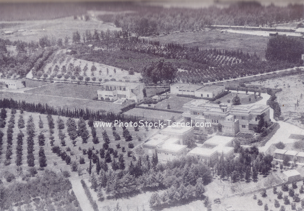Vintage image of The Weizmann Institute of Science in Rehovot, Israel, established in 1934, 14 years before the State of Israel. Black and White Photograph circa 1940