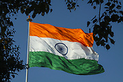 Close up of the flag of India blowing in the wind in New Delhi
