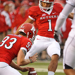 Sep 12, 2009; Piscataway, NJ, USA; Rutgers kicker San San Te (1) makes an extra point during the first half of Rutgers' 45-7 victory over Howard in NCAA College Football at Rutgers Stadium.