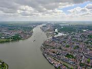 Nederland, Zuid-Holland, Dordrecht, 14-05-2020; samenstroming van de rivieren Oude Maas, de Noord en Beneden Merwede. Rechts van de Merwede het Wantij. Binnenstad van Dordrecht<br /> Confluence of the rivers Oude Maas, Noord and Beneden Merwede. Historical city centre Dordrecht.<br /> luchtfoto (toeslag op standard tarieven);<br /> aerial photo (additional fee required);<br /> copyright foto/photo Siebe Swart